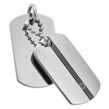 Stainless Steel Dog Tag Pendant With Black PVD Stripe and Small Black CZ Stone