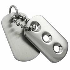 Matte and Shiny Stainless Steel Dog Tag Pendant