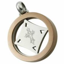 Circular Stainless Steel Spinning Pendant With Coffee PVD and Small Tribal Cross In The Center