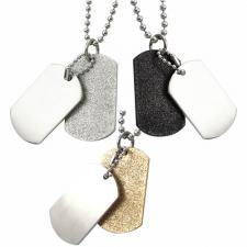 Beautiful Stainless Steel Dog Tag Pendant w/ Sand Blast Design