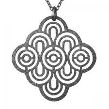 Sandblast Design Black Pendant.