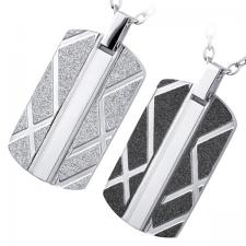 Modern,Dog Tag,Pendant,High Quality 316L Surgical Steel,Non Allergic.  Sand Blast Silver Finish, Sand Blast Black Finish.
