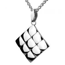 Stainless Steel Pendant With Textured Diamond Pattern