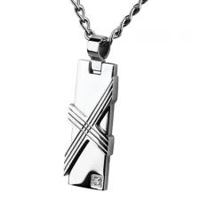 Stainless Steel Pendant With Geometric Design And CZ Stone