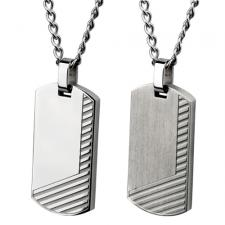 Modern Stainless Steel Dog Tag Pendant With Etched Lines