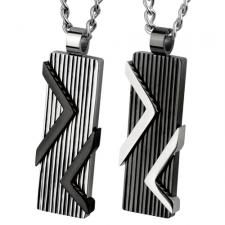 Stainless Steel Pendant With Elevated Design And Vertically Etched Lines