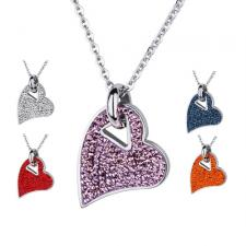 Lovely CZ Encrusted Stainless Steel Heart Pendant