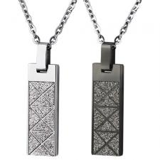 Stainless Steel Pendant With Criss Cross Patterns