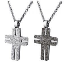 Stainless Steel Cross Pendant With Sandblast Texture