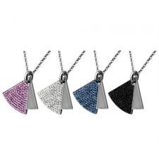 Marvelous Triangular Stainless Steel Pendant With Foiled CZ Stones