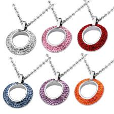 Circular Stainless Steel Pendant With Foiled CZ Stones