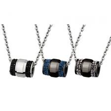 Gorgeous Stainless Steel Barrel Pendant With CZ Stones