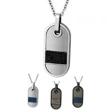 Stainless Steel Dog Tag Pendant With CZ Crystal Accent