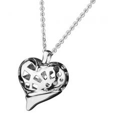 Three Dimensional Stainless Steel Heart Pendant with Cut Out Design