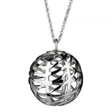 Stainless Steel Three Dimensional Spherical Pendant With Cut Out Design