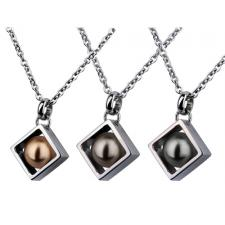 Ornamental Pearl Pendant With Surrounding Stainless Steel Casing