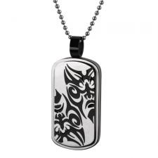 Stainless Steel Dog Tag Pendant With Tribal Face Design