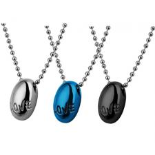 Stainless Steel Oval Shaped Pendant With LOVE Inscription