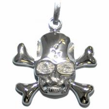 Skull and Crossbones Pendant with Clear Stone Eyes