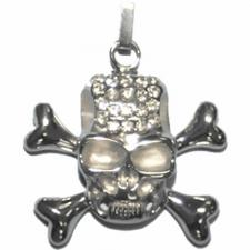 Very Cool Skull and Crossbones Pendant with Clear Stones