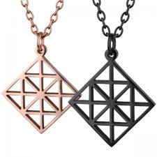 Women's, Rose Gold, Black, Steel, Pendant geometric Pattern.