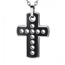 black enamel cross pendant