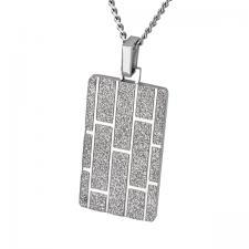 Stainless Steel, Pendant, Sandblast Texture, Brick Pattern.