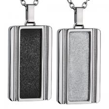 Stainless Steel, Dog Tag, Pendant, Vertical Sandblast Texture
