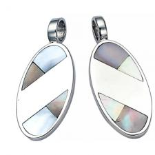 Stainless Steel Pendant With Mother-of-Pearl