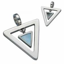 Gorgeous Triangular Stainless Steel With Mother of Pearl Pendant - Natural Light or Natural Dark