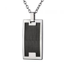 Rectangular Stainless Steel Pendant With Black Mesh Inlay