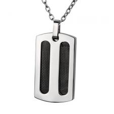 Stainless Steel Dog Tag Pendant with Black Mesh Inlay