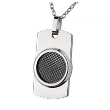 Stainless Steel Dog Tag Pendant with Circular Black Mesh Design