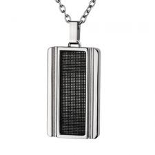 Modern Stainless Steel Pendant with Black Mesh Inlay