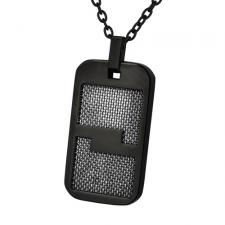 Black PVD Coated Pendant with Stainless Steel Mesh Inlay