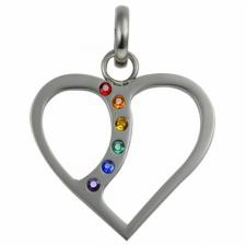 Stainless Steel Heart Pendant with Rainbow Stones