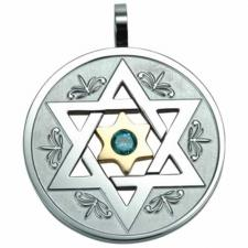 Very Nice Circular Stainless Steel Pendant With Star of David