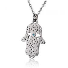 Stainless Steel Hamsa Pendant With Aquamarine CZ Stone