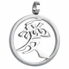 Circular Stainless Steel Pendant With Chinese Symbol