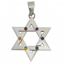Stainless Steel Star Of David Pendant with Multicolored Stones in the Center