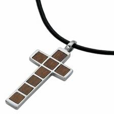 Stainless Steel Wood Pendant - Cross Design