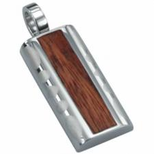 Stainless Steel Pendant with Wood