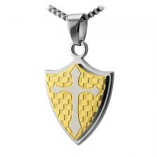 Stainless Steel Shield Pendant With Gold PVD Checkered Pattern and Centered Cross