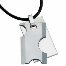 Gorgeous Tungsten Rectangular Double Pendant With Half Circle Cut Outs
