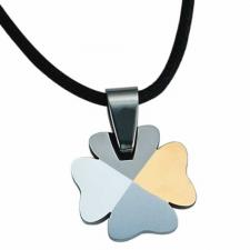 Gorgeous Tungsten 4 Leaf Clover with Gold PVD Pendant & Woven Cord
