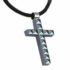 Tungsten Cross with Leather Necklace