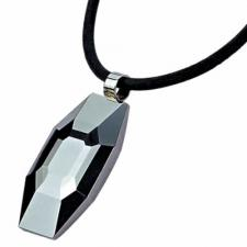 Diamond-Cut Tungsten Pendant with Leather Necklace