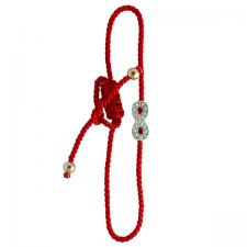 Twisted Red Nylon Bracelet with Encrusted Infinity Charm