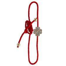 Twisted Red Nylon Bracelet with Encrusted Clover Charm