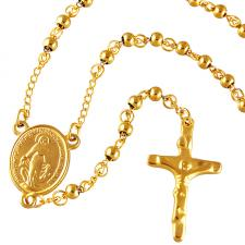 Gold PVD Coated Rosary Necklace with 6mm Beads
